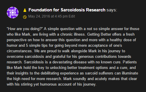 Endorsement from the Foundation for Sarcoidosis Research